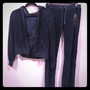 Juicy Couture Navy Blue and Gold Velour Tracksuit